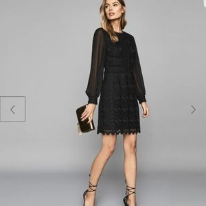 Reiss Aria lace dress with sheer sleeves